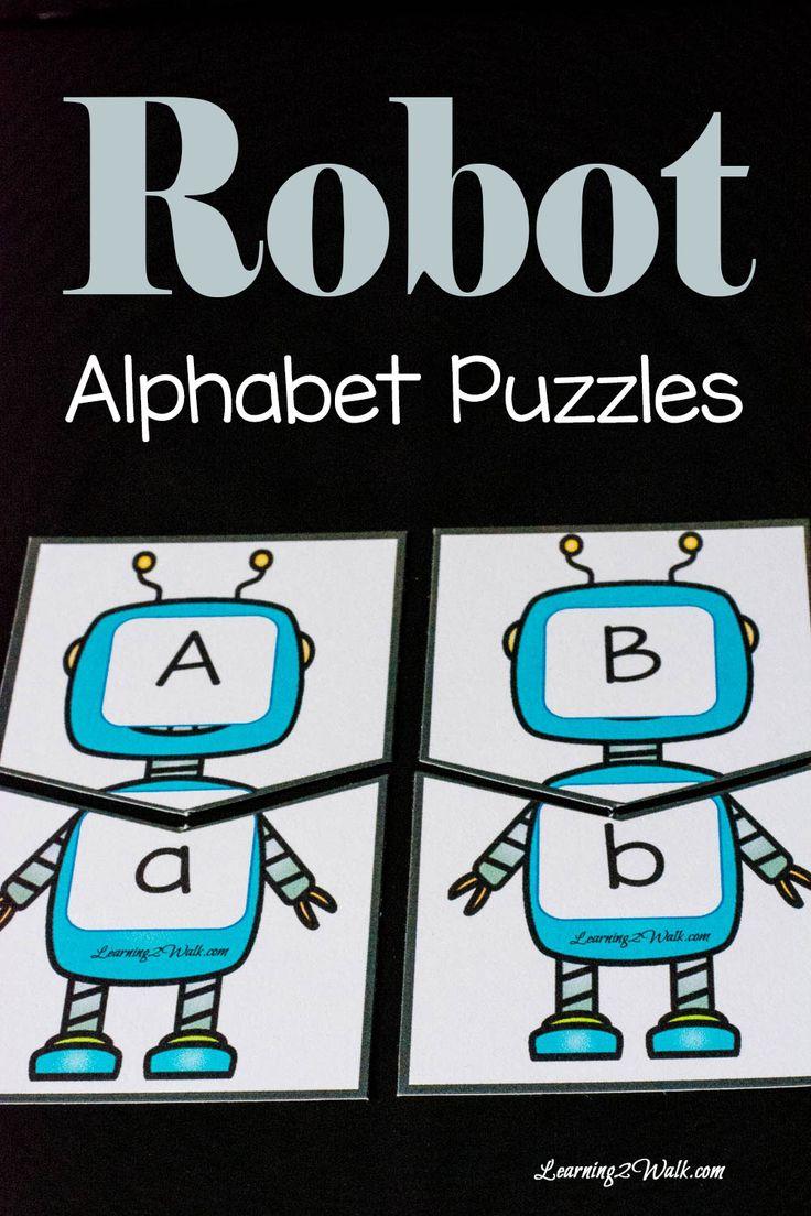 Free Printable Robot Alphabet Puzzles