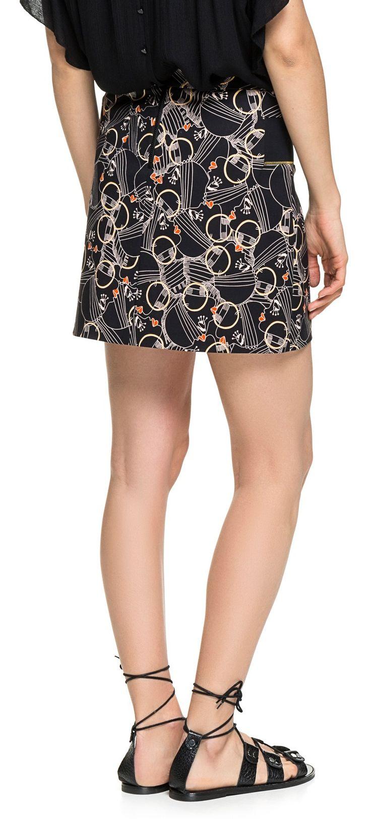 FALDAS Minifalda estampada Cherry Lips LABIOS CEREZA NEGRO