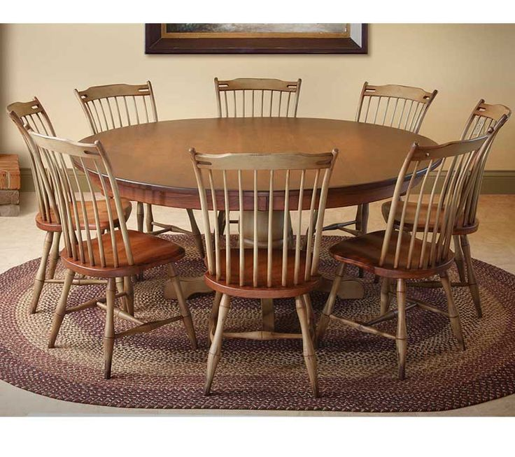Country farmhouse round pedestal table with images