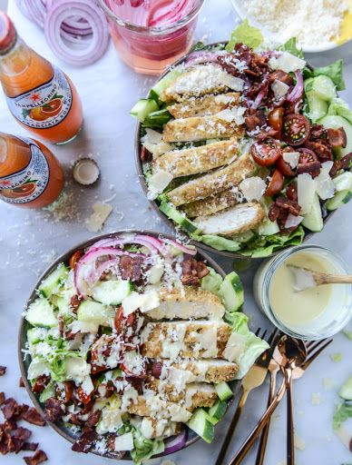 parmesan-crusted chicken salad with bacon and pickled onions I howsweeteats.com