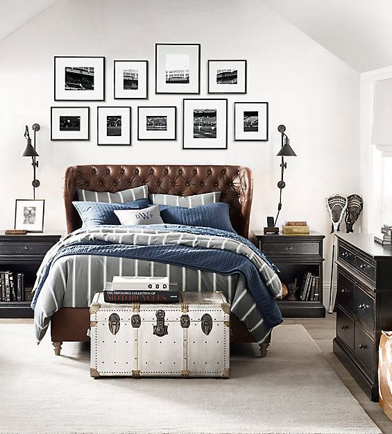 A fresh take on a traditional boy's bedroom in sporty stripes and vintage leather