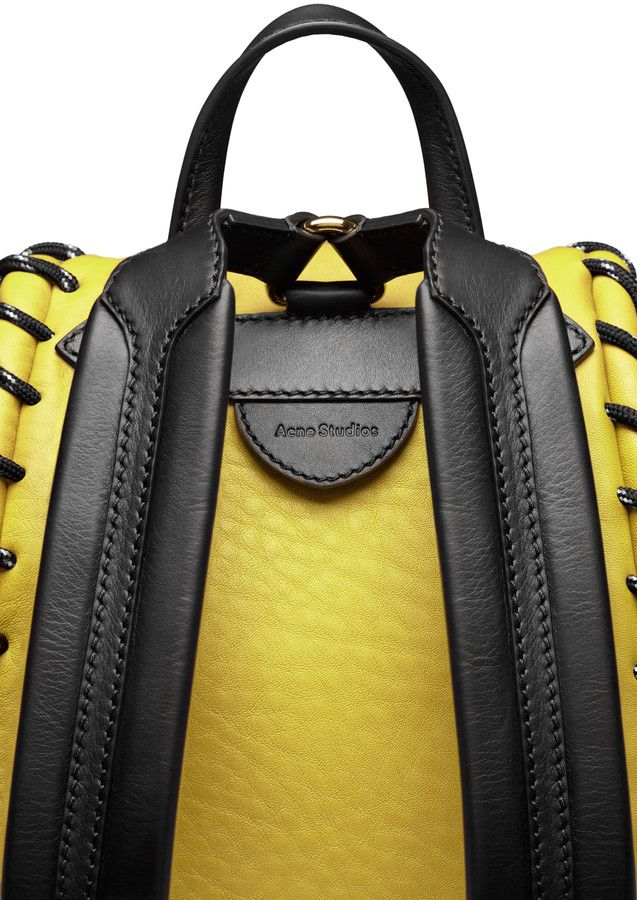 Acne Studios Rope jungle yellow Small backpack Ebags BackPack Tumblr | leather backpack tumblr | cute backpacks tumblr http://ebagsbackpack.tumblr.com/