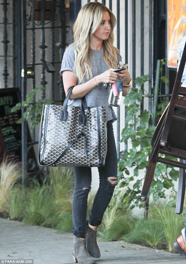 Ashley Tisdale wearing Goyard Volataire Tote c5106a11f0028