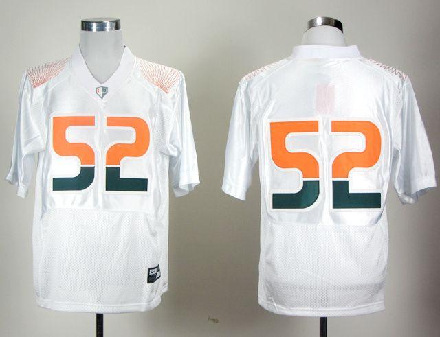 Men's NCAA Miami Hurricanes #52 Ray Lewis White Pro Combat Jersey