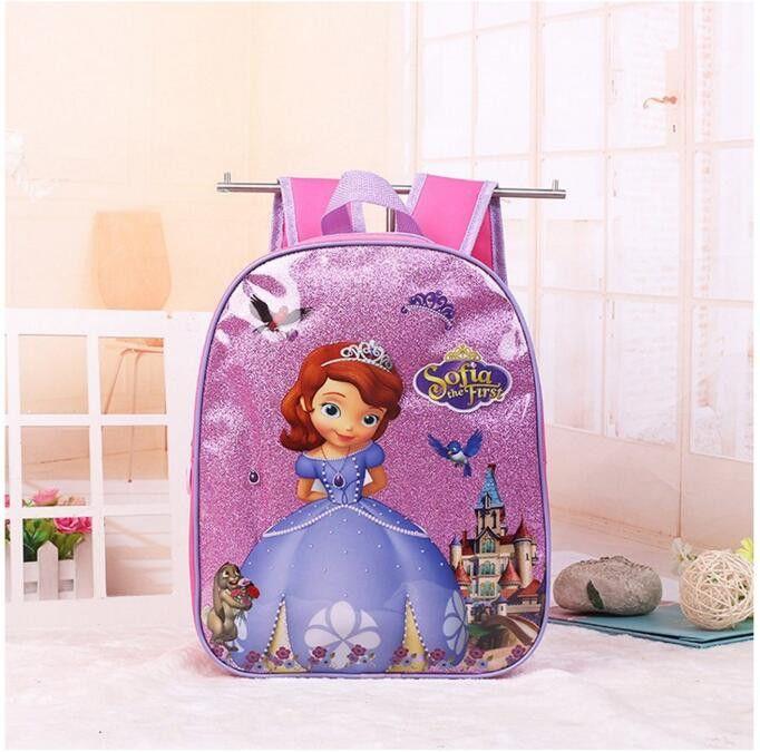 2017 New kids cartoon Elsa Anna schoolbag girls princess cute school bag sofia Kindergarten backpacks in stock
