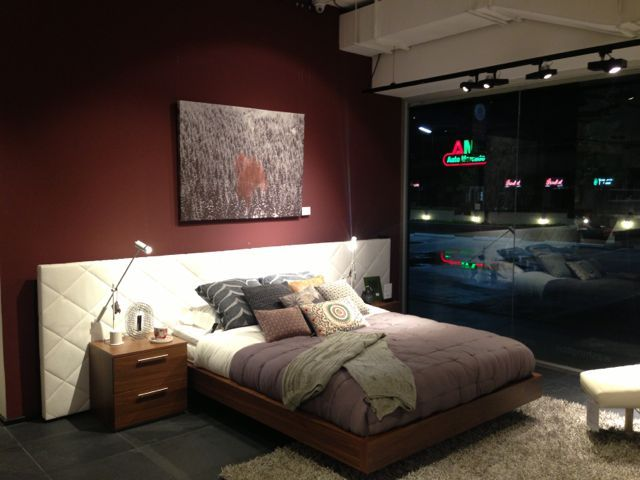 BoConcept bed with upholstered headboard