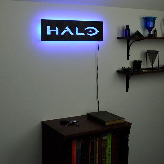 Illuminated Halo Logo Sign LED Backlit Gamer Wall by HaloLights