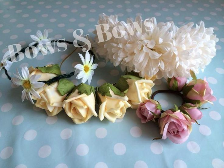 Flower Crown Headband Floral Bun Crown in Chrysanthemums, Roses and Daisies. Perfect for Weddings, Flower Girls, Festival Summer Hair Accessory. Full range @ www.facebook.com/bowsandbowsclips