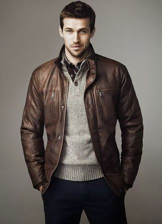 Men's Brown Leather Bomber Jacket, Grey Henley Sweater, White and Red and Navy Plaid Long Sleeve Shirt, Navy Chinos
