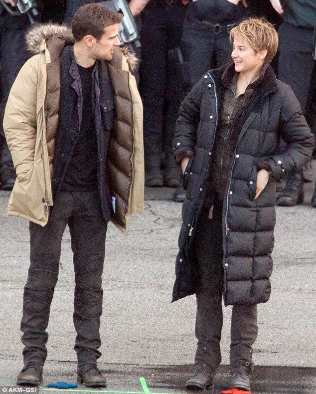Behind the scenes oh Insurgent Tris and Four (Shailene Woodley and Theo James)
