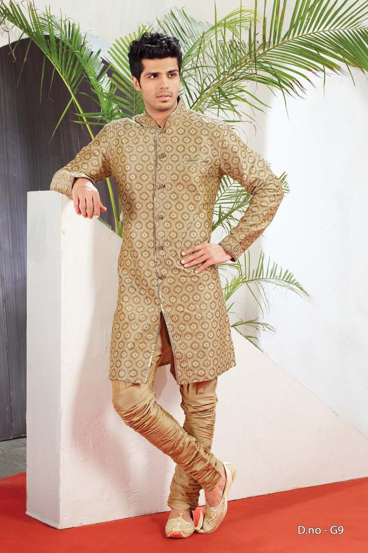 Beige Poly Jacquard Readymade IndoWestern Suit  http://www.silk-india.com/en/82-kurta-pajama 72.71$  Now, place your Order now : Email:- raksha@silk-india.com