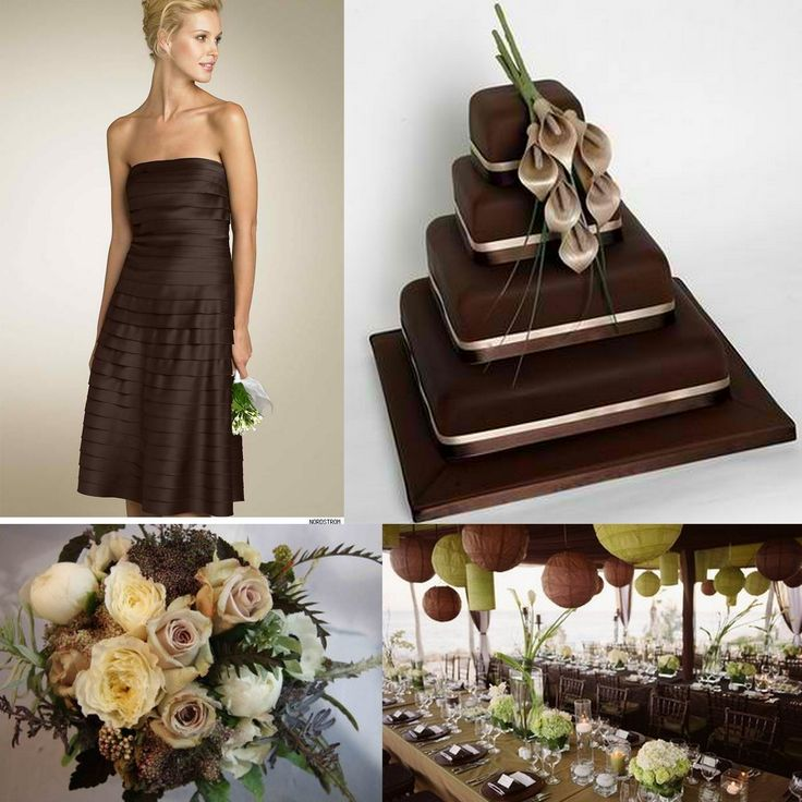 Chocolate Brown Wedding Dresses I like the idea of it being a brides made dress instead of a wedding dress. but absolutely love the flowers and the rest of the decore