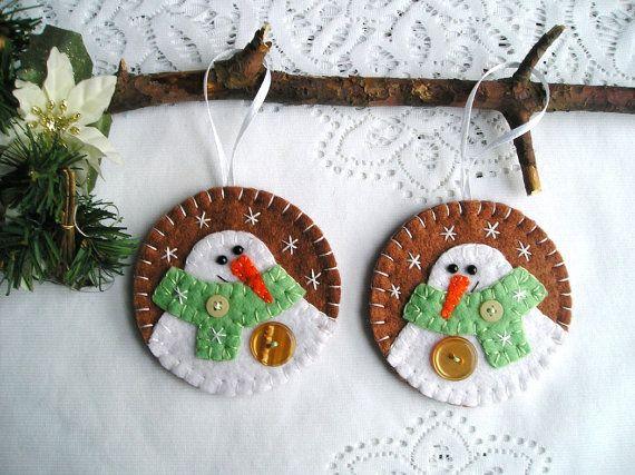 Christmas tree ornaments Snowman felt christmas by feltgofen