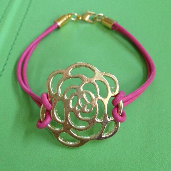 Leather and Rose Pendant Bracelet by joytoyou41 on Etsy, $25.00: Rose Pendants