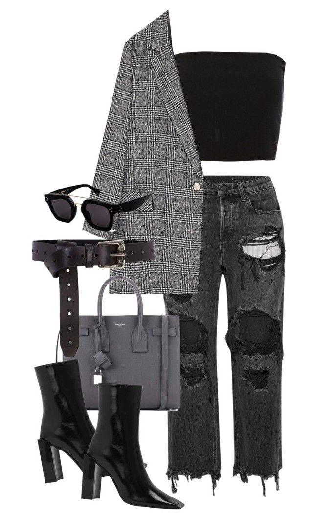 """""""distressed"""" by camilae97 ❤ liked on Polyvore featuring Topshop, Alexander Wang, Yves Saint Laurent, Karen Millen and CÉLINE"""