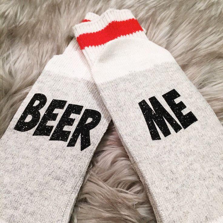 A personal favorite from my Etsy shop https://www.etsy.com/ca/listing/467310256/19-beer-me-socks-bring-me-wine-socks