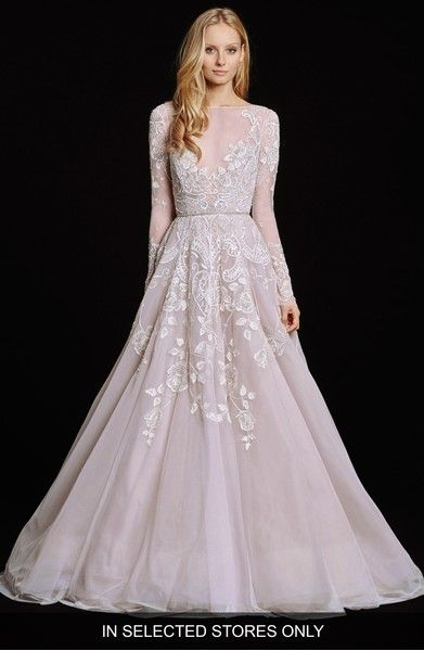 ee91fa89b36 Winter Wedding Snow Ice Ivy Hayley Paige Hayley Embellished English Net    Tulle Long Sleeve Ballgown