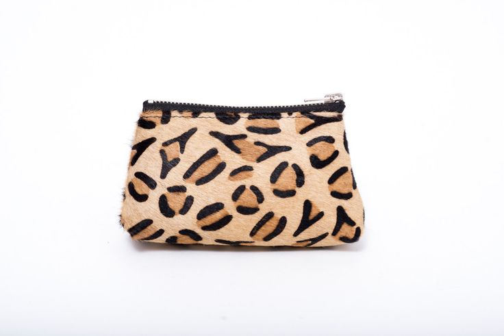 leopard printed hair on leather case, leather pouche, mini coin purse, coin pouche, leather coin wallet, card holder,Christmas stocking gift de la boutique VEINAGE sur Etsy