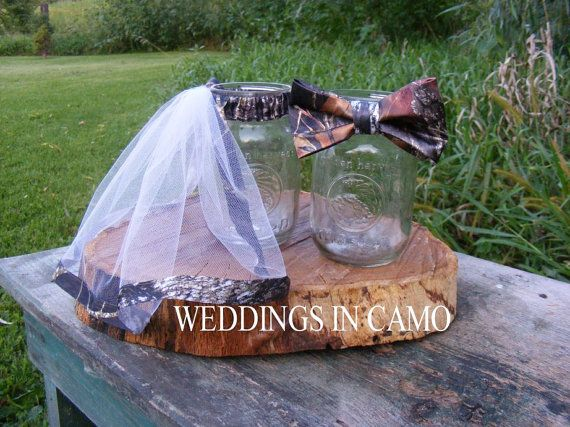 CAMO Decorations for reception MASON jar accents by BandJcouture