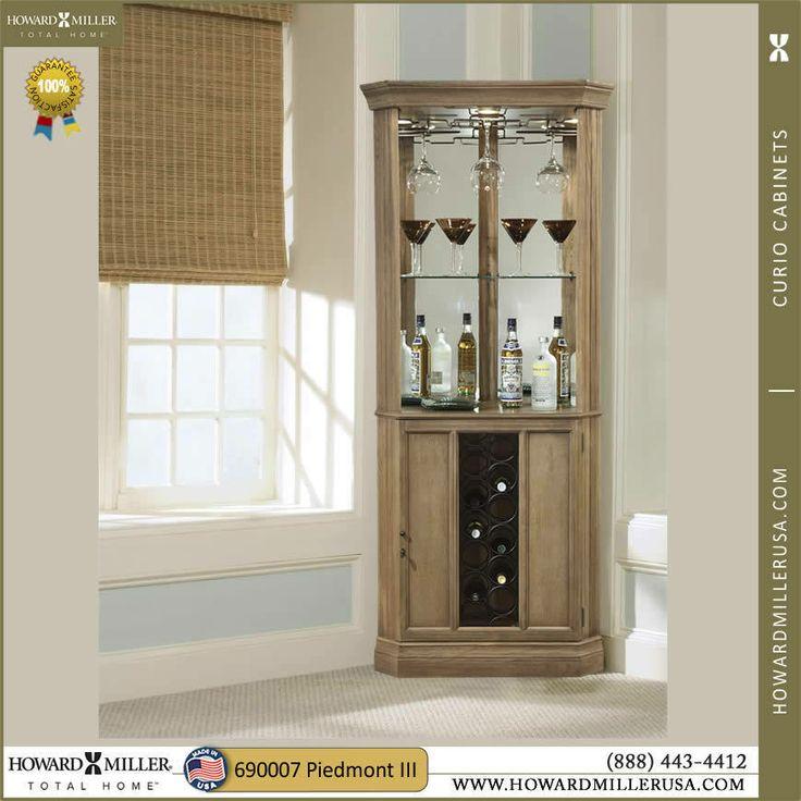 690028 Howard Miller Rustic Nature Corner Wine Bar Cabinet