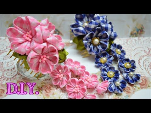 ❀ ✾ ❁ D.I.Y. Hana Kanzashi Sakura - Tutorial ❁ ✾ ❀ - YouTube