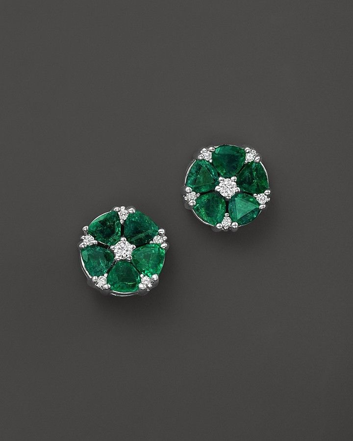 Emerald and Diamond Flower Stud Earrings in 14K White Gold