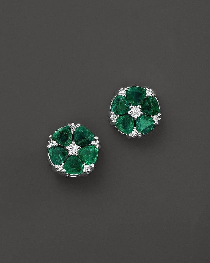 Emerald and Diamond Flower Stud Earrings in 14K White Gold ...
