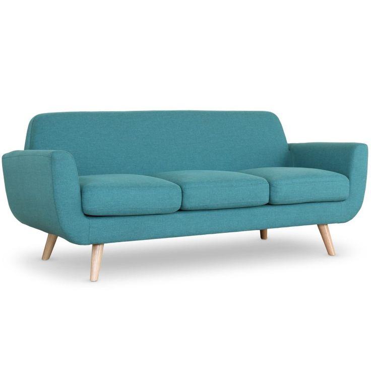 Sofa estilo escandinavo Danubio 3 plazas tela azul - Menzzo.es