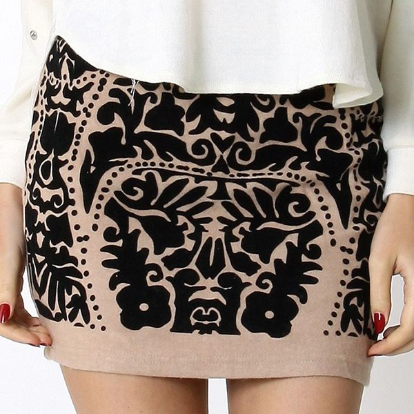 Tribal Pattern Bud Skirt in Nude from Picsity.com