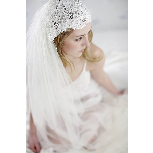 Liliana Lace Beaded Bridal Juliet Cap by LovebySusie ❤ liked on Polyvore