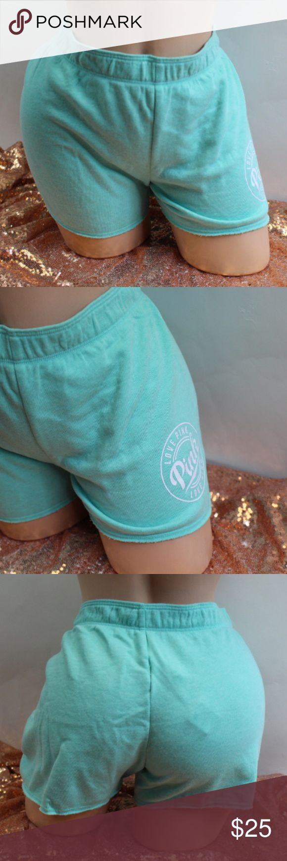 Victoria's Secret Pink Mint Green Shorts #873 Victoria's Secret Pink Mint Green Shorts  elastic waist band love pink logo Victoria's Secret Shorts