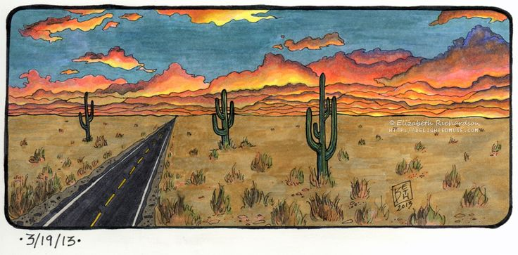 Drawing: Horizon study of a desert road