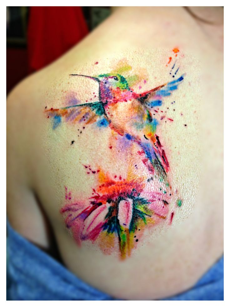 Watercolor tattoo done by Spirits in the Flesh tattoo studio San Francisco
