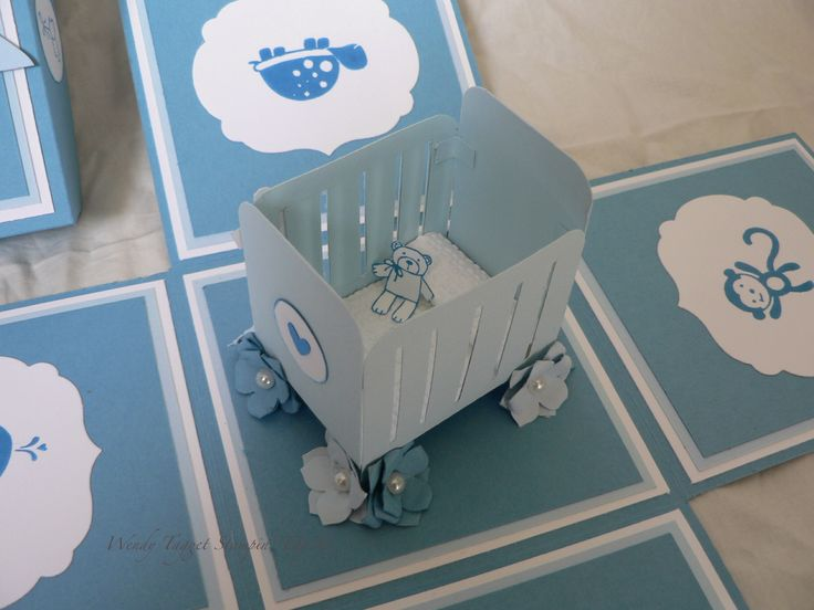 """Baby Boy Explosion box Marina Mist, Bashful Blue,Whisper White,Pacific Point (ink),Baby Bundle,Fox and Friends, Teeny tiny sentiments, Petite Petals punch, 3/4 and 1"""" circle punch,word window ,Labels Collection,Square Lattice Embossing folder,Pearls,Cheerful Treat DSP"""