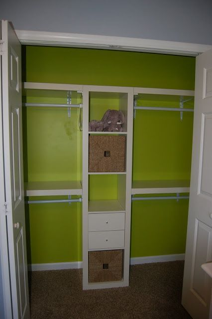"""space maximizing closet idea - using ikea expedit & wall shelving - make the bottom right shoe shelves. Put in a seating bench for her to have a """"dressing room"""""""