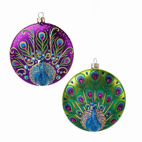 Jeweled Peacock Ornaments, Set Of 2