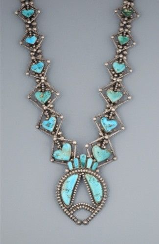 Turquoise Soul  . . .                           Old Navajo Heart Turquoise Squash Blossom Necklace