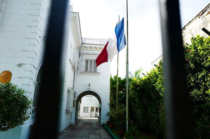 Flag at half mast today at the French Embassy in Havana following the terrorist attacks in Paris. by cubareporter