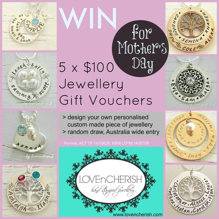 WIN WIN WIN 5 x $100 Jewellery Gift Vouchers to design your own custom made piece of jewellery. Enter now here - http://www.lovencherish.com/#!promotions/cig7