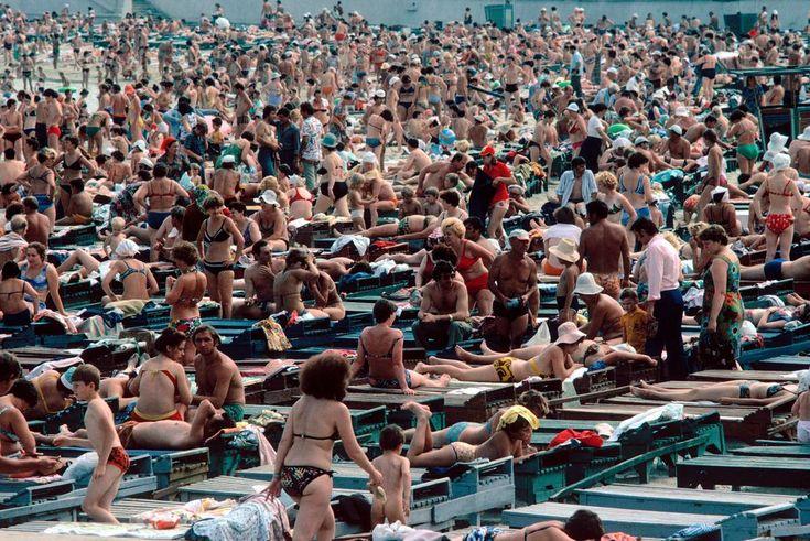 Sunbathers at the beach near Odessa, Ukraine, Soviet Union, 1981, photograph by Peter Marlow.