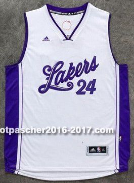maillot nba pas cher Los Angeles Lakers Kobi Bryant # 24 Blanc Christmas Edition 2015-2016
