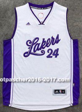 maillot nba pas cher Los Angeles Lakers Kobi Bryant # 24 Blanc Christmas Edition 2015-2016