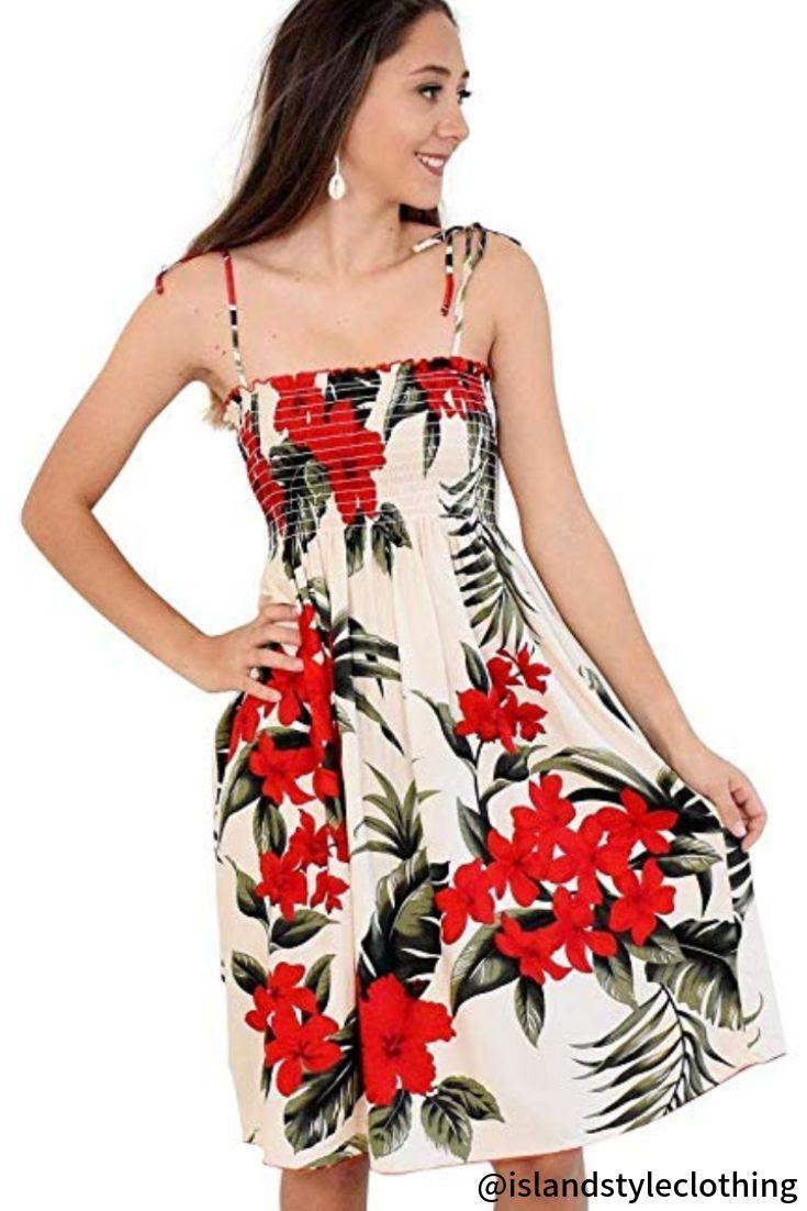 Ladies Tube Dress Cream Red Floral Plumeria Hibiscus Hawaiian Print Pretty Summer Dress For A Bbq Cruise Or Lu Tube Dress Island Style Clothing Dresses [ 1102 x 735 Pixel ]