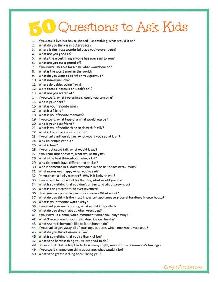 Crayon Freckles: 50 questions to ask kids {plus free printable}