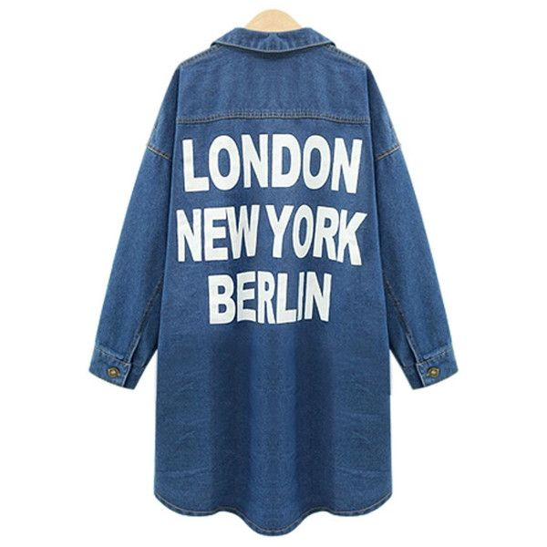 Yoins Plus Size Word Print Denim Duster Coat ($43) ❤ liked on Polyvore featuring outerwear, coats, print coat, blue coat, patterned coat, women's plus size coats and plus size coats