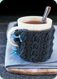 Free patterns for knitted coffee cup and mug sleeves! Esther... we are SO DOING THIS.