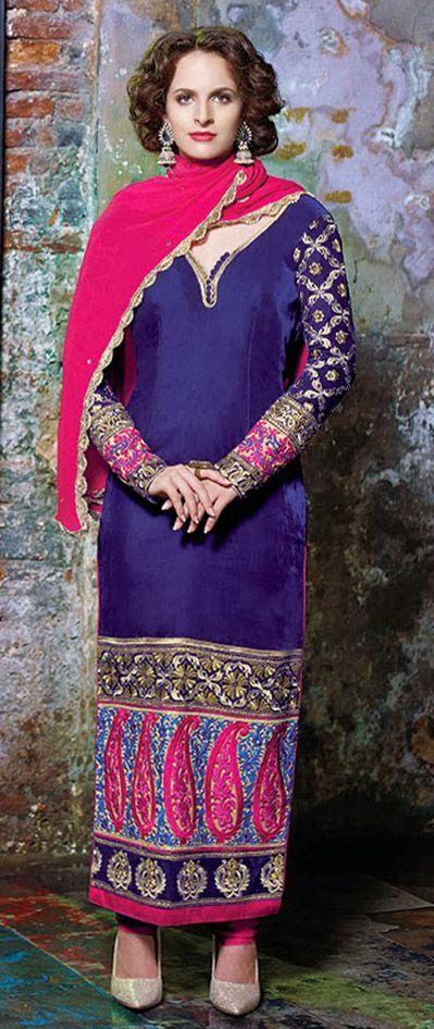 USD 137.67 Blue Resham Work Long Salwar Kameez 28422