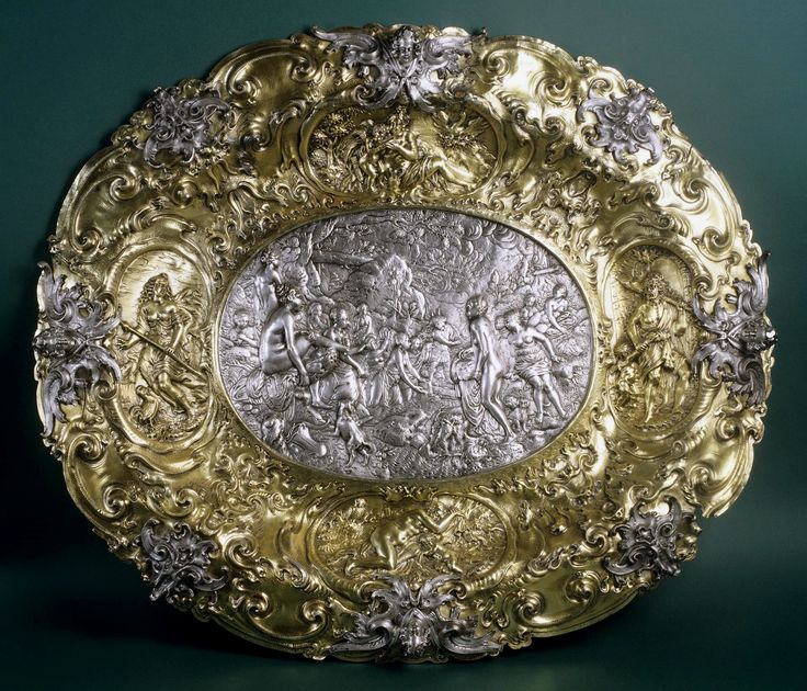 Ceremonial silver tray with Diana and Actaeon, personifications of the Morning (Diana the huntress), Day (Venus and Amor), Twilight (Hercules) and Night (Sleeping Venus) by David Schwestermüller, 1650s, Zamek Królewski na Wawelu, possibly from the Polish Vasa collection