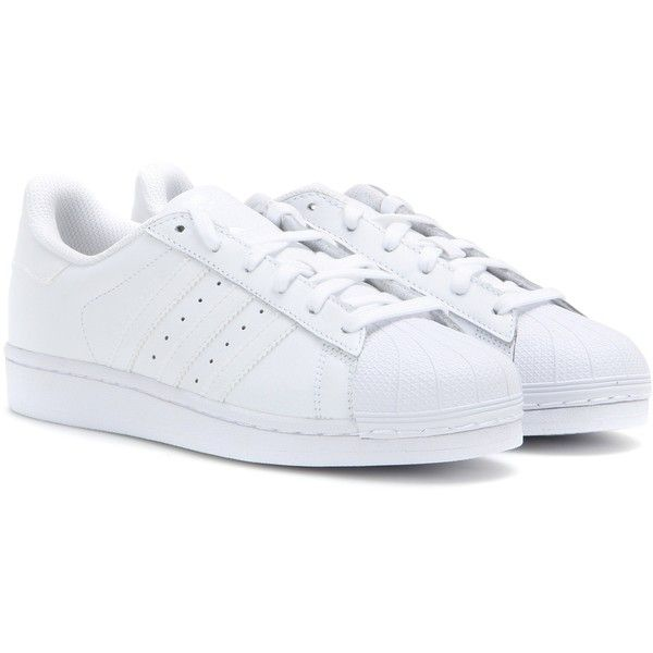 Adidas Superstar Foundation Leather Sneakers ($100) ❤ liked on Polyvore featuring shoes, sneakers, white, white trainers, leather shoes, white leather trainers, genuine leather shoes and adidas