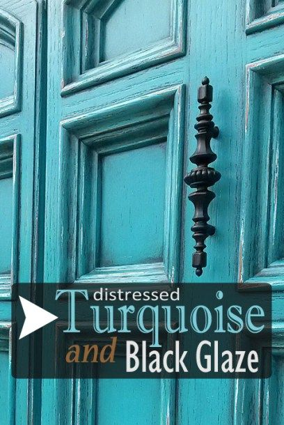 Armoire In Distressed Turquoise U0026 Black Glaze
